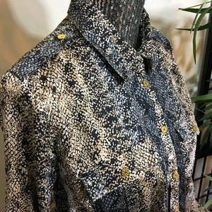 NWT Jaclyn Smith Snake Print Button Shirt Blouse L